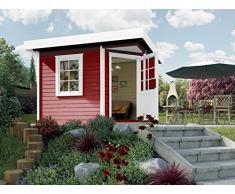 Weka Gartenhaus, Designhaus 213 Größe 1, 5-Eck, 28 mm, ET, F, rot, 278x278x237 cm, 213.2424.43000