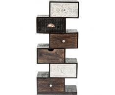 Kare Design Hochkommode Finca Zick Zack, schmale, moderne Kommoden mit 6 Schubladen und handgeschnitzten Fronten, Braun-Weiß (H/B/T) 115x50x30cm