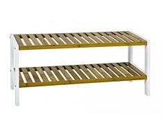 HAKU Möbel 38329 Regal, 26 x 70 x 33 cm, weiß / natur, mit 2 Ablagen
