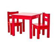 Hoppekids Kindersitzgruppe mit 1 Kindertisch und 2 Kinderstühle, teilmassiv sehr stabil, viele Farben, Holz, rot, 55 x 50 x 47 cm