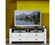 Stella Trading ANLL711031 TV Board Unterteil Lowboard Landhausstil fernseher schrank Unterschrank, möbel, Holz, weiß, 40.0 x 136.0 x 59.0 cm