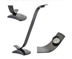 Maclean MCE110 6 LEDs kalt- und warmweiß 9 Watt Tischlampe Leselampe Bürolampe 3000K - 6000K Farbe: schwarz