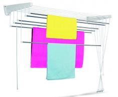 Casabriko Wäscheständer für Wand und Decke 95-165x41x135 cm Bianco