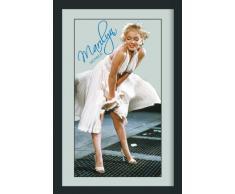 Empireposter - Monroe, Marilyn - Blue Signature - Größe (cm), ca. 30x40 - Maxi-Spiegel Bedruckter Wandspiegel mit schwarzem Kunststoffrahmen in Holzoptik