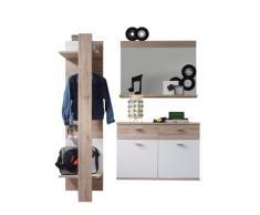 trendteam Garderobe Garderobenkombination 3-teiliges Komplett Set Campus, 165 x 187 x 38 cm in Weiß, Absetzung Eiche San Remo Hell Dekor