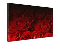 LANA KK - Leinwandbild Bed Of Roses Red mit Blumen auf Echtholz-Keilrahmen – Frühling und Natur Fotoleinwand-Kunstdruck in rot, einteilig & fertig gerahmt in 100x70cm