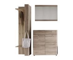 Trendteam Garderobe Garderobenkombination 3-teiliges Komplett Set Malea, 160 x 191 x 35 cm in Eiche San Remo Dekor mit viel Stauraum und Ablagefläche