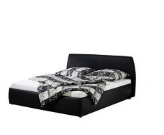 Maintal Betten 232651-4693 Polsterbett Minu 140 x 200 cm, Kunstleder schwarz