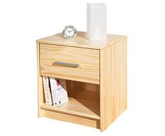 Links 30400015 Nachtkommode Kiefer Schlafzimmerkommode Schlafzimmerschrank 1 Schublade weiß