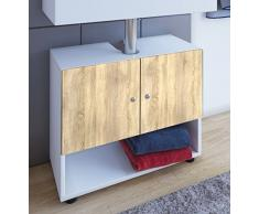 VCM Waschtisch Unterschrank Badschrank Waschbeckenunterschrank Badezimmer Möbel Weiß / sonoma-eiche 58x60x38cm Offano