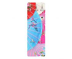 Apalis 78666 Wandgarderobe Chinese Parasols   Design Garderobe Garderobenpaneel Kleiderhaken Flurgarderobe Hakenleiste Holz Standgarderobe Hängegarderobe   139x46cm