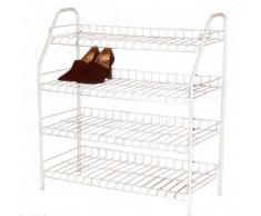 RUSSEL H & L Ltd Großes Schuhregal aus Draht, 4 Etagen, für bis zu 16 Paar Schuhe, weiß
