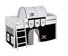Lilokids IDA4106KW-PIRAT-SCHWARZ-S Kinderbett, Holz, pirat schwarz, 208 x 98 x 113 cm