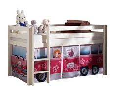 VIPACK PICOHSZG1471 Spielbett Pino mit Textilset Flower-Bus, Maße 210 x 114 x 106 cm, Liegefläche 90 x 200 cm, Kiefer massiv weiß lackiert