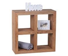 WOHNLING Standregal Massivholz Akazie 82 cm hoch 4 Böden Design Holz-Regal Natur-Produkt Beistelltisch Landhaus-Stil dunkel-braun Wohnzimmer-Möbel Unikat Echtholz Bücherregal viereckig Stehregal
