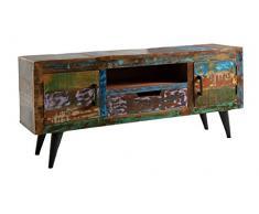 SIT-Möbel Miami 5221-98 Lowboard mit 2 Türen & 1 Schublade, recyceltes Altholz, bunt lackiert, 140 x 35 x 60 cm