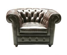 Kare Design Sessel Oxford, Echtledersessel, Chesterfield Sessel, Ledersessel Lounge, Vintage Sessel Leder Chesterfield, (H/B/T) 76x115x92cm