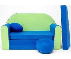 moleo Sofa Kindersessel Ausziehbett, Samt, Blau-Grün N, 98 x 48 x 59 cm