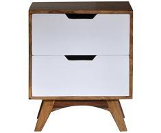 SIT-Möbel 7759-10 Nachtkommode Sixties, antikfinish, 50 x 40 x 60 cm, weiß / braun