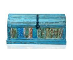 SIT-Möbel 1291-13 Truhe Blue, Echtes Altholz, washed mit Klappdeckel, Innenvolumen 12 m³, 100 x 44 x 50 cm