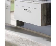 Held Möbel 319.2119 Capri Waschtisch, 1 Metall-Auszug mit Reling, inkl. Mineralgussbecken, 80 x 56 x 47 cm, weiß / eiche-vintage