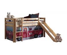 VIPACK PICOHSGB1071 Spielbett Pino mit Rutsche und Textilset Flower-Bus, Maße 210 x 114 x 218 cm, Liegefläche 90 x 200 cm, Kiefer massiv natur lackiert