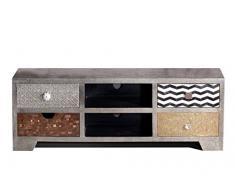 SIT-Möbel 1321-97 Lowboard Metal & Bone, 130 x 40 x 50 cm, Mango, MDF, Messing, Metall, Kupfer, Coconut Shell, Knochen, bunt