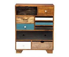 Kommode Babalou 10 Schübe, modernes, schmales Sideboard, Kommodenschrank aus Mangoholz, braun-bunt (H/B/T) 90x70x30cm