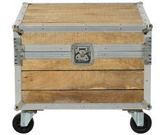 SIT-Möbel 2255-01 Truhe Roadies, Mangoholz unbehandelt, naturfarben mit Alu beschlagen auf Gummirollen, 1 Klappe, 60 x 60 x 51 cm