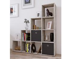 VCM Regal Treppenregal Raumteiler Stufenregal Bücherregal Standregal Holz Farlbwahl Beton-optik 139x143 x 29 cm Napoli