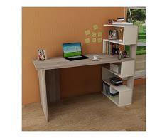 DELUXE Schreibtisch - Avola / Weiß - Computertisch - Workstation für Home Office in modernem Design