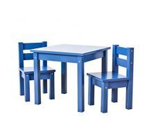 Hoppekids Kindersitzgruppe mit 1 Kindertisch und 2 Kinderstühle, teilmassiv sehr stabil, viele Farben, Holz, blau, 55 x 50 x 47 cm