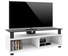 VCM TV Lowboard Schrank Tisch Rack Fernsehschrank Fernsehtisch Bank Möbel Lack Holz Weiß Clunis