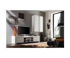 209006-02 TV Schrank Amalfi gross mit 2 Türen, 190 x 45 x 50 cm, weiß hochglanz
