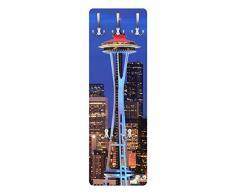 Apalis 79463 Wandgarderobe Seattle | Design Garderobe Garderobenpaneel Kleiderhaken Flurgarderobe Hakenleiste Holz Standgarderobe Hängegarderobe | 139x46cm
