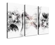 "LANA KK - Leinwandbild Stars SW"" abstraktes Design auf Echtholz-Keilrahmen – Fotoleinwand-Kunstdruck in schwarz, dreiteilig & fertig gerahmt in 150x100cm"