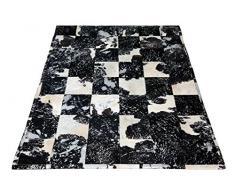 SIT-Möbel 1026-21 Teppich This und That, 170 x 240 cm, gefärbtes Kuhfell, dessin silber auf schwarz / weiß