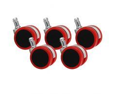 Amstyle Design AMSTYLE Hartbodenrollen 5er Set Rollen für Bürostuhl Rot Stift 11mm/Durchmesser 50mm Parkettrollen für Parkett Laminat Linoleum Drehstuhlrollen Stuhlrollen für harte Böden