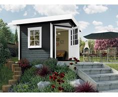 Weka Gartenhaus, Designhaus 213 Größe 2, 5-Eck, 28 mm, ET, F, anthrazit, 338x338x237 cm, 213.3030.46000