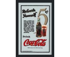 empireposter - Coca Cola - Refresh Yourself - Größe (cm), ca. 30x40 - Maxi-Spiegel, NEU - Beschreibung: - Bedruckter Wandspiegel mit schwarzem Kunststoffrahmen in Holzoptik -
