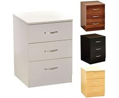 Home Discount Panama Nachttisch, 3 Schubladen, trüb gewachstes Pinienholz