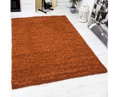 VIMODA Prime Shaggy Teppich Farbe Kupfer Hochflor Langflor Teppiche Modern für Wohnzimmer Schlafzimmer, Maße:Ø 80 cm Rund