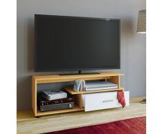 VCM TV Lowboard Tisch Schrank Rack Konsole Fernsehtisch Möbel Bank Holz Buche/Weiß 43 x 110 x 40 cm Rimini