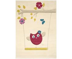Benuta Kinderteppich Die kleine Eule Pink 140x200 cm | Teppich für Spiel- und Kinderzimmer