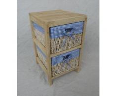 Hansen Korbwaren 3401/2KB Holzregal mit 2 Maisstrohkörben und kariertem Stoff aus Palowniaholz, blau / weiß
