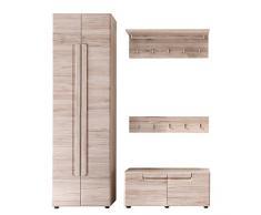 Trendteam Garderobe Garderobenkombination 4-teiliges Komplett Set Malea, 168 x 188 x 38 cm in Eiche San Remo Dekor mit viel Stauraum