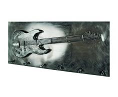 Haku-Möbel 32809 Wandgarderobe, 7 x 80 x 35 cm, schwarz-nickel