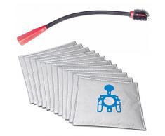 Flexible KFZ-, Boot-, Couch-, Möbel-, Ritzen-, Heizkörper- Staubsaugerdüse für Kärcher WD 3.500 inkl. 10 Microvlies Staubsaugerbeutel passend für und 1 Rolle 16l Abfallbeutel
