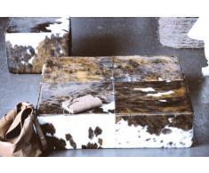 Jan Kurtz 497330 Pouf, Stoff, braun / weiß, 40 x 40 x 42 cm