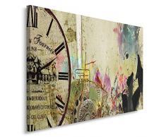 Feeby, Leinwandbild, Bilder, Wand Bild, Wandbilder, Kunstdruck 80x120cm, VINTAGE, GLAMOUR, FRAUEN, WATCH, FRANKREICH, BLUMEN, MULTICOLOR, BEIGE